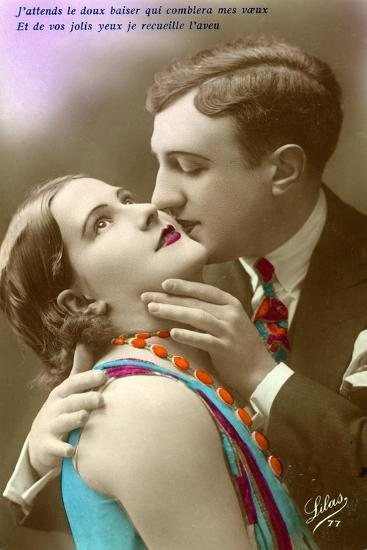 French Couple Kissing, C.1920--Giclee Print