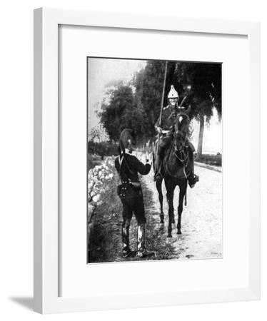 French Dragoon, Delivering Passport to Alert Belgian Picket, First World War, 1914--Framed Giclee Print