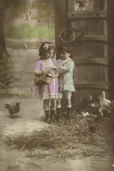 French Easter Card, Showing Children Finding Eggs--Photographic Print