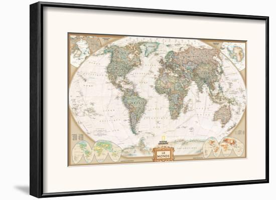 French Executive World Map Framed Art Print By National Geographic