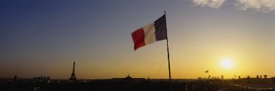 French Flag Waving in the Wind, Paris, France--Photographic Print
