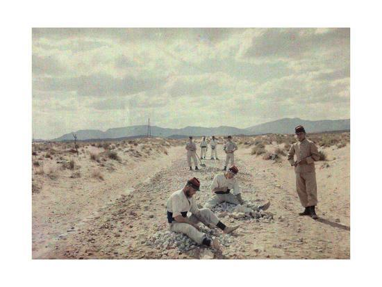 French Foreign Legion Works to Build Roads in the Algerian Desert-Gervais Courtellemont-Photographic Print