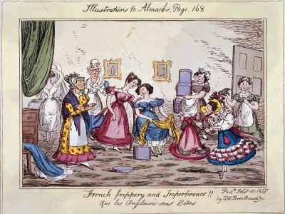 French Frippery and Impertinence!! Que Les Anglaises Sont Betes, 1827-Edwin Flood-Giclee Print