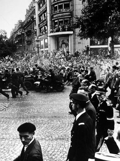 French Gen. Charles de Gaulle Waving to Jubilant Crowds Following Liberation of Paris-Ralph Morse-Premium Photographic Print