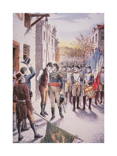 French General Jean Sarrazin Kisses Hanged Irish Rebel Patrick Walsh--Giclee Print