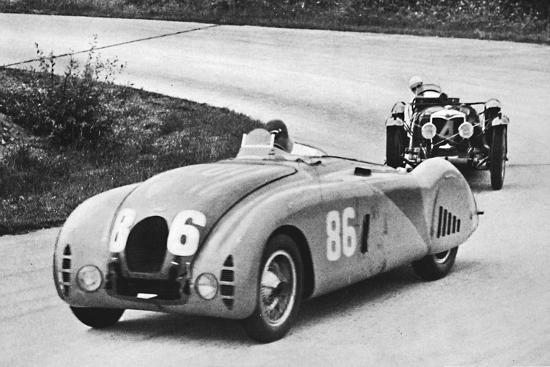 'French Grand Prix, 1936: A new streamlined Bugatti, followed by a Riley', 1936, (1937)-Unknown-Photographic Print