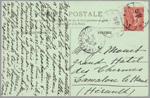 Handwritten Postcard Sent to Madame Monet (Ink on Paper) (Verso for Recto See 233968) by French