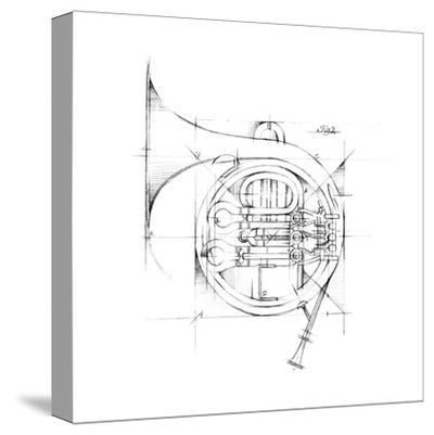 French Horn Sketch Stretched Canvas Print By Ethan Harper