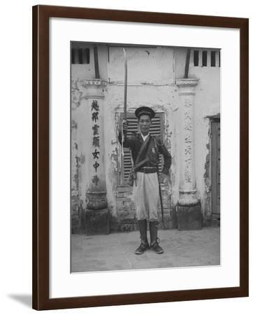 French Indo China Dang Man Tran Lifting His Sword in Token of Shift of Allegiance to French--Framed Photographic Print