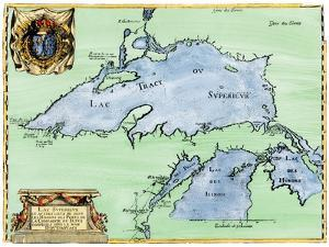 French Jesuit Map of Lake Superior, Upper Michigan, and Wisconsin, 1600s