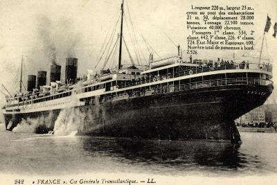 French Line, Cgt, Dampfschiff France, Rauch--Giclee Print