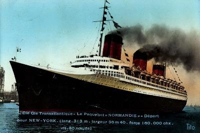 French Line Cgt, Paquebot Normandie, Dampfschiff--Giclee Print