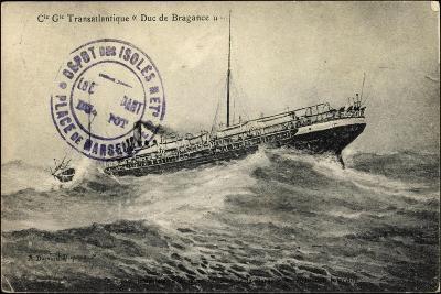 French Line, Cgt, Transatlantique Duc De Bragance--Giclee Print