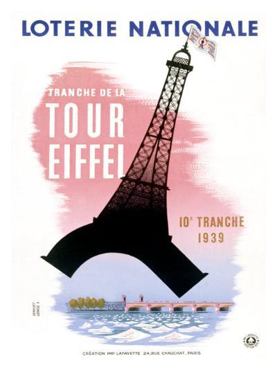 French Lottery, Eiffel Tower--Giclee Print
