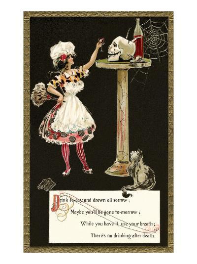 French Maid Toasting Skull--Art Print