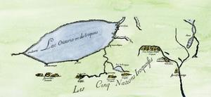 French Map of the Five Iroquois Nations Homeland and Fort Orange (Albany), 1660s