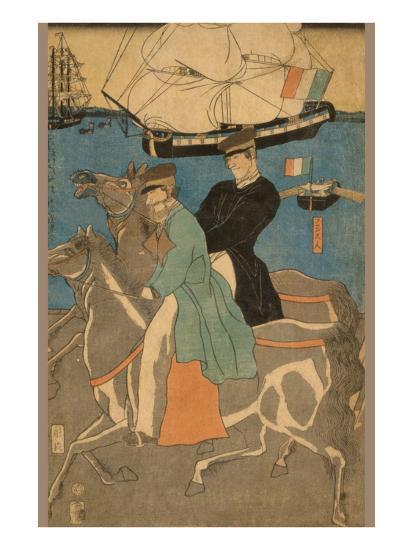 French Men Taking Horse Ride on Sunday in Yokohama (Yokohama Kyu?Jitsu Furansujin Uma Yu?Ko?)-Sadahide Utagawa-Art Print