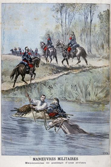 French Military Maneuvers, Fording a River, 1898-Henri Meyer-Giclee Print