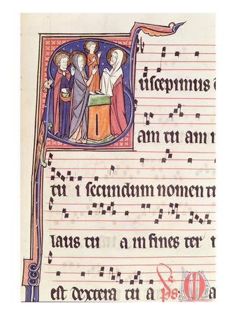 Ms 241 F.144 Historiated Initial 'S' Depicting the Presentation of Jesus at the Temple