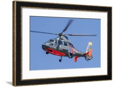 French Navy As365 Dauphin Helicopter in Flight over France-Stocktrek Images-Framed Photographic Print