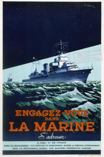 French Navy Recruitment Poster, C1930-1945-Roger Levasseur-Giclee Print