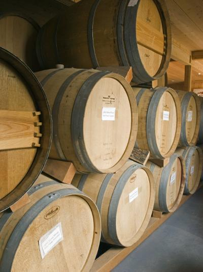 French Oak Barrels of Wine at Midnight Cellars Winery in Paso Robles, California-Rich Reid-Photographic Print