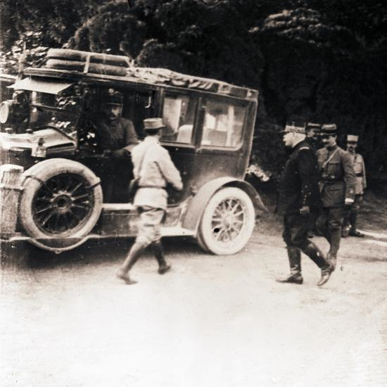 French officers and vehicle, c1914-c1918-Unknown-Photographic Print