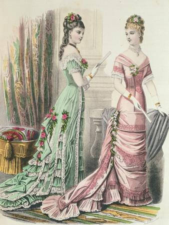 Paris Fashion, from 'Journal Des Demoiselles' Published Dupuy Paris, 1878 (Colour Litho)
