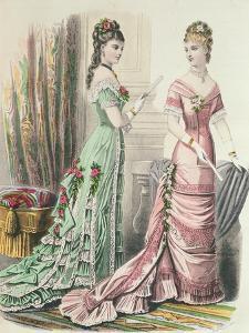 Paris Fashion, from 'Journal Des Demoiselles' Published Dupuy Paris, 1878 (Colour Litho) by French