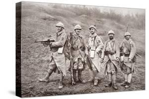 French WWI Infantry with Weapons, 1918 by French Photographer