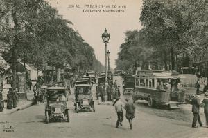 Paris, Boulevard Montmatre. Postcard Sent in 1913 by French Photographer
