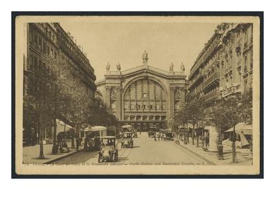 Postcard Depicting the Gare Du Nord and the Boulevard Denain in Paris, C.1920 (B/W Photo)