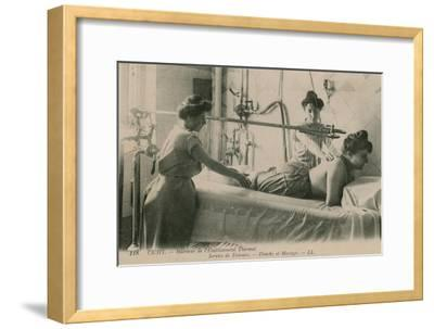 Postcard of a Woman Receiving a Shower and Massage at the Thermal Baths in Vichy, Sent in 1913