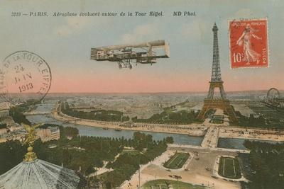 Postcard of an Aeroplane Circling around the Eiffel Tower, Sent in 1913