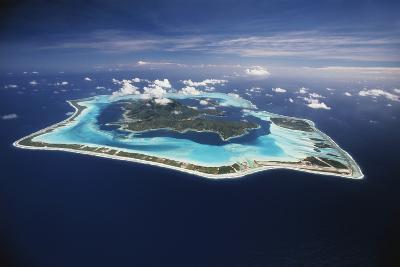 French Polynesia, Bora Bora, Aerial View of Bora Bora Island-Walter Bibikow-Photographic Print