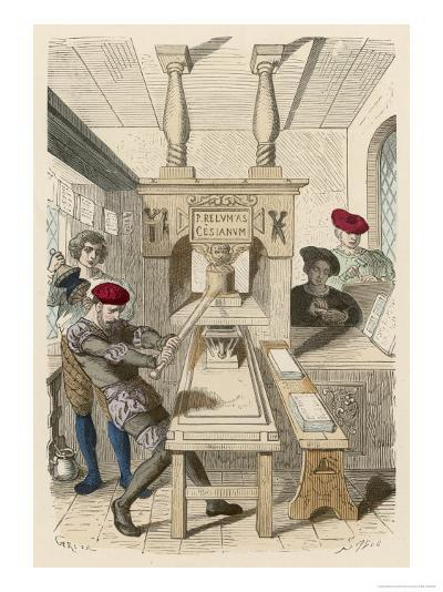 French Printing Press of the 15th Century- Gerlier-Giclee Print