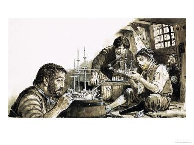 French Prisoners-Of-War of the Napoleonic Wars Making Model Ships-C.l. Doughty-Giclee Print