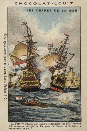French Privateer Jean Bart Attacking the Dutch, 1694--Giclee Print
