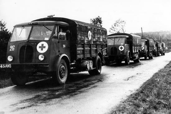French Red Cross Trucks Carrying Aid for Prisoners of War, C. 1939-45--Photographic Print
