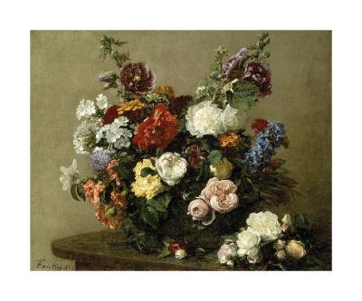 French Roses And Peonies-Henri Fantin-Latour-Premium Giclee Print