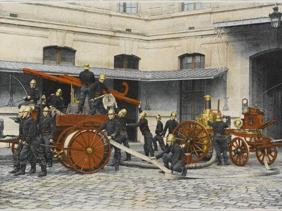 French Sapeurs-Pompiers Manoeuvre their Engines at the Scene of a Fire--Photographic Print