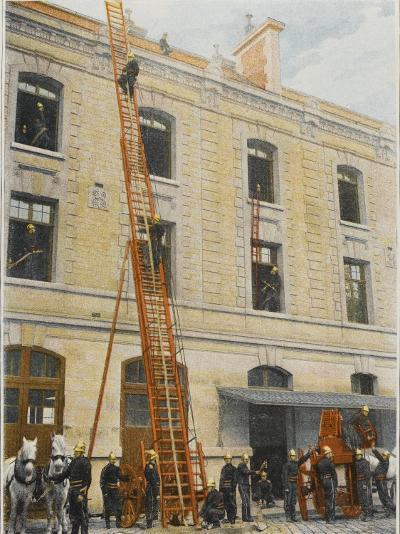 French Sapeurs-Pompiers Use a Long Ladder to Reach the Highest Floors of a Burning Building--Photographic Print