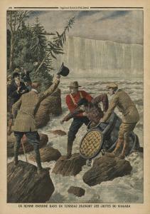 A Man in a Barrel Crossing the Niagara Falls by French School