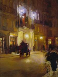 Abendliche Strassenszene Vor Den Folies Bergeres, Paris by French School