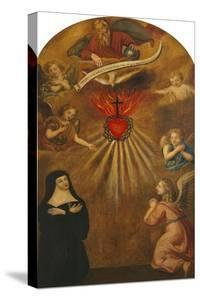 Adoration of the Sacred Heart of Jesus by Margaret Mary Alacocque, 1647-90, and an Angel, 1715 by French School