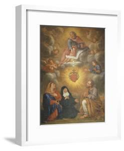 Adoration of the Sacred Heart of Jesus by the Angels, Mary and Joseph and Margaret Mary Alacocque by French School