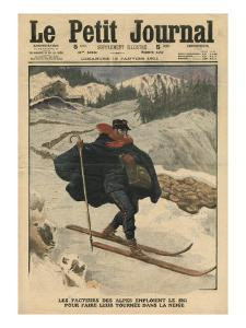 Alpine Postmen Using Ski During their Rounds in the Snow by French School