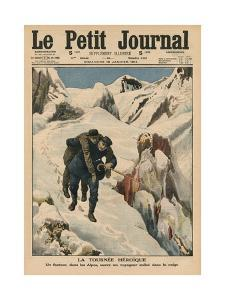 An Heroic Round, an Alpine Postman Rescuing a Traveller Stuck in the Snow, Front Cover… by French School