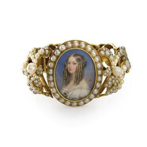 Bracelet Containing a Miniature of Victoiria, Duchess of Nemours by French School