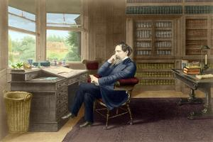 Charles Dickens in his study in Gadshill, 1865-70 by French School
